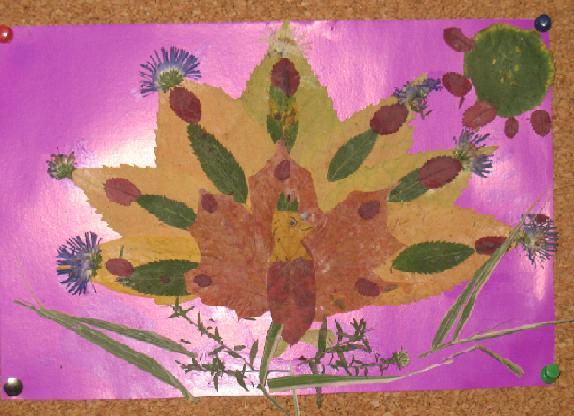 Аппликации из сухих листьев букет цветов